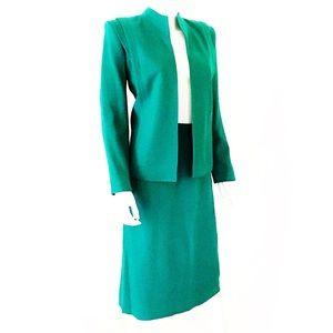 True Vintage emerald green wool skirt suit, CHARAN